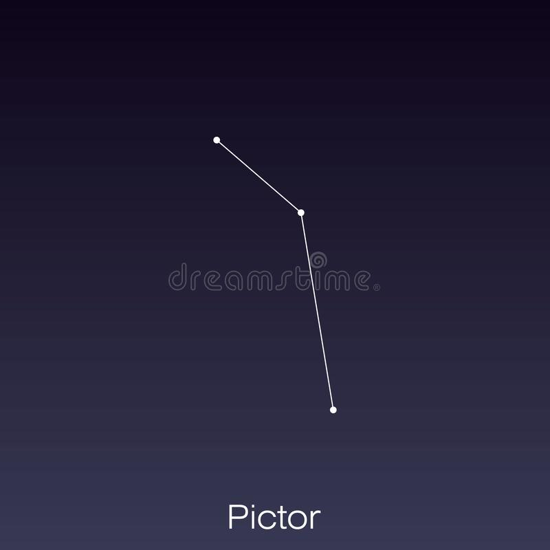 Constellation as it can be seen by the naked eye. Pictor constellation as it can be seen by the naked eye royalty free illustration
