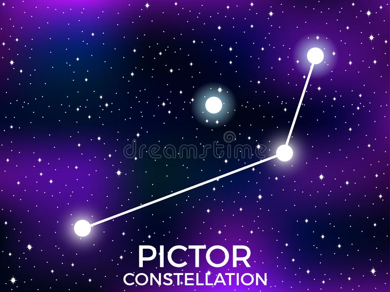 Pictor constellation. Starry night sky. Cluster of stars and galaxies. Deep space. Vector. Illustration vector illustration