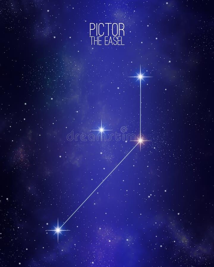 Pictor sztaluga gwiazdozbioru mapa na gwiaździstym astronautycznym tle Gwiazda krewnego kolor i rozmiary cienią zasadzonego na ic ilustracji
