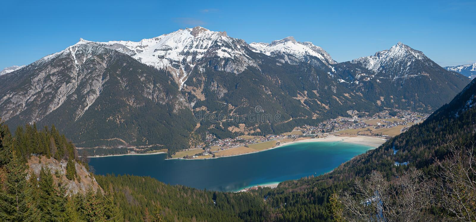 pictorial austrian landscape with view to lake achensee and rofan mountain mass royalty free stock image