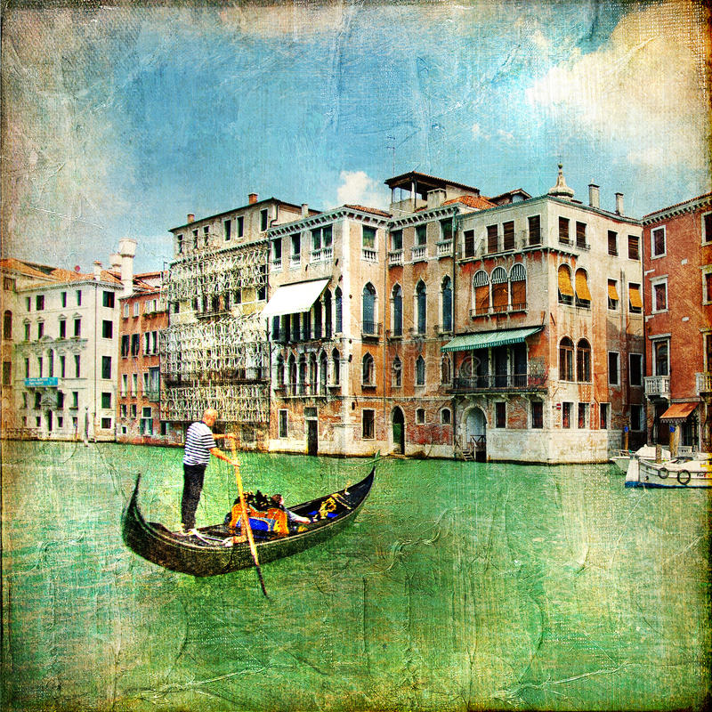 Download Pictorial canals of Venice stock illustration. Illustration of retro - 19379959