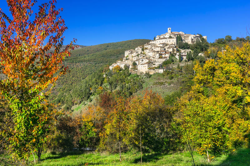 Pictorial villages of Ialy - Labro in Rieti province. Beautiful villages of Italy - Labro in autumn colors. Rieti province stock photos