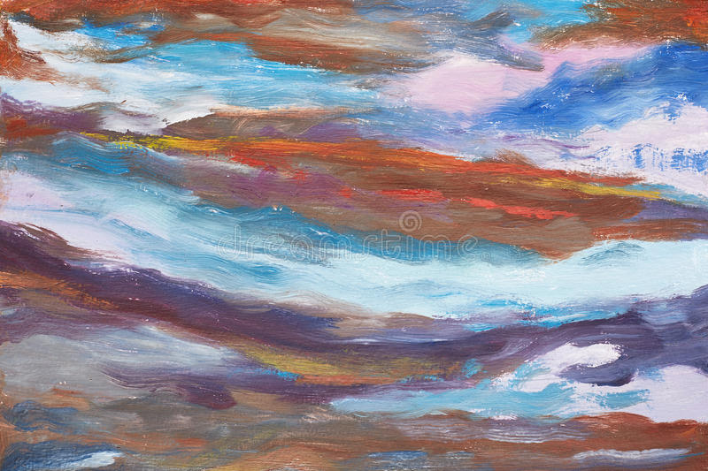 A picture of abstract waves. Hand drawn oil painting. A work of painter. A landscape of water. Colorful background oil painting stock illustration