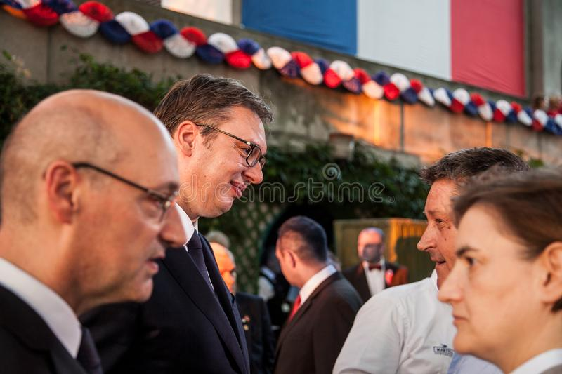 Aleksandar Vucic, President of Serbia, and Ana Brnabic, Serbian Prime Minister, discussing with the French ambassador. Picture of Aleksandar Vucic and Ana royalty free stock photo