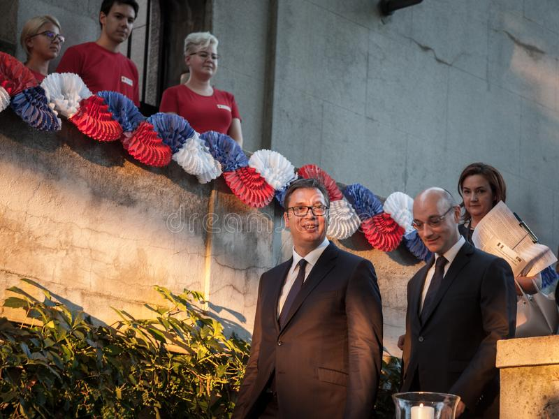 Aleksandar Vucic, President of Serbia entering the French embassy with the French embassador to Belgrade Frederic Modoloni. Picture of Aleksandar Vucic stock photo