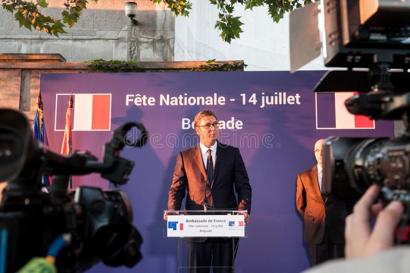 Aleksandar Vucic, President of Serbia standing and making a speech at the French embassy. Picture of Aleksandar Vucic, president of the Republic of Serbia stock images