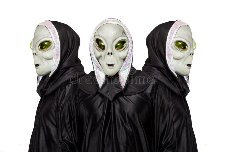 Three aliens isolated on white background royalty free stock images