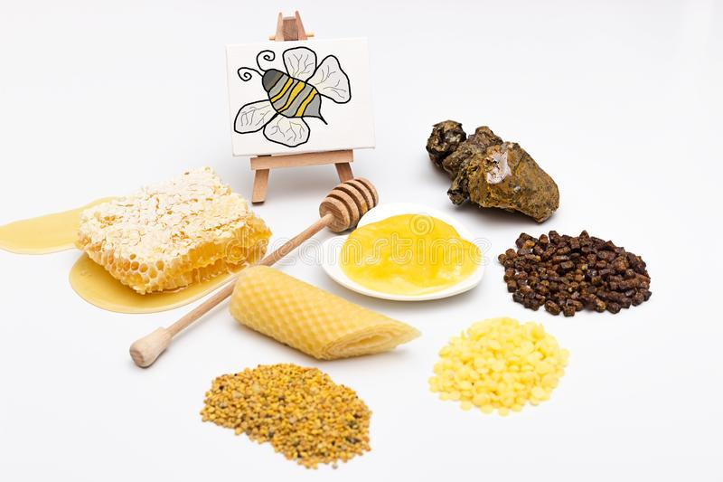 Different bee products. Picture with an assortment of different bee products royalty free stock images