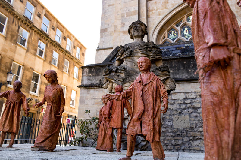 Bath Abbey statues, UK royalty free stock photography