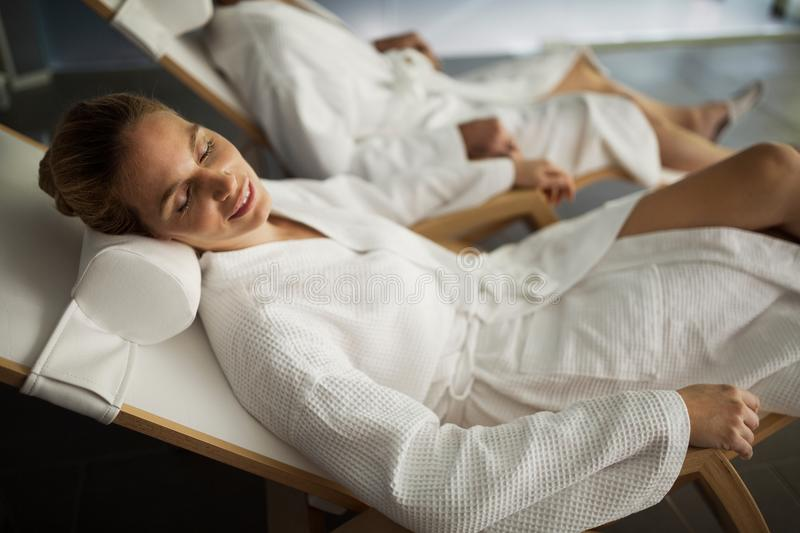 Picture of beautiful woman relaxing in spa center. Picture of beautiful blonde women relaxing in spa center royalty free stock photography