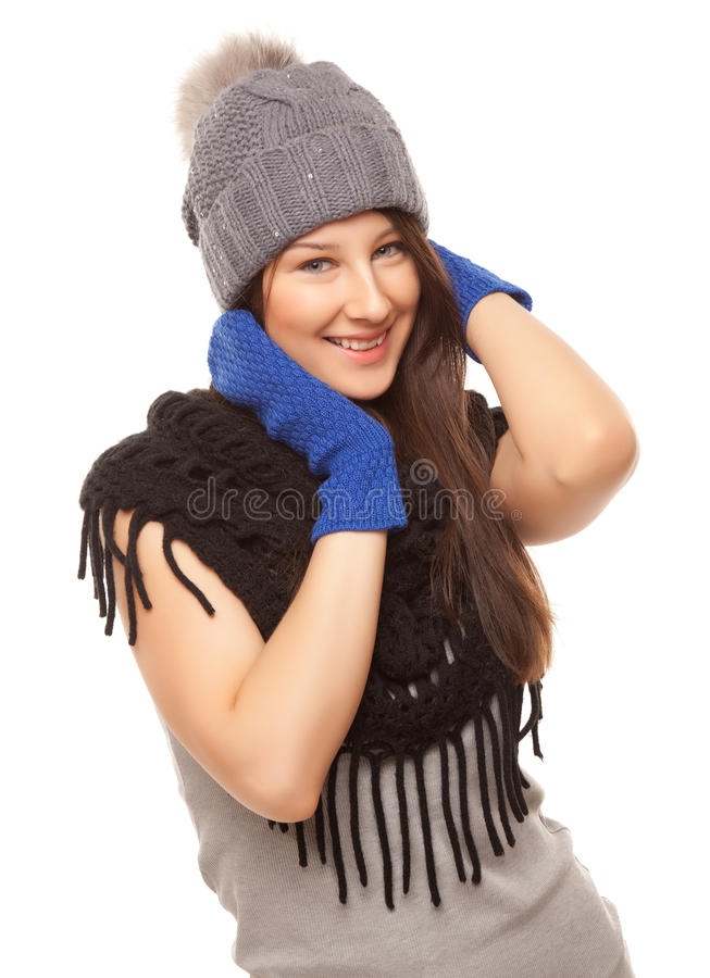 Picture of beautiful woman in black scarf smiling. Picture of beautiful woman in grey hat and black scarf smiling stock image