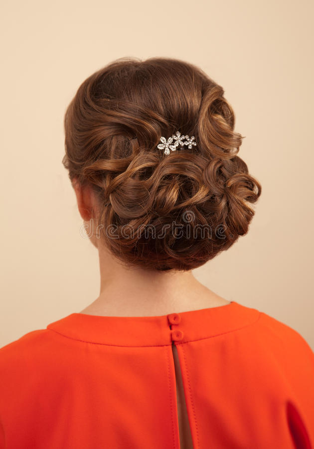 Picture of beautiful woman with gorgeous hairstyle royalty free stock photos