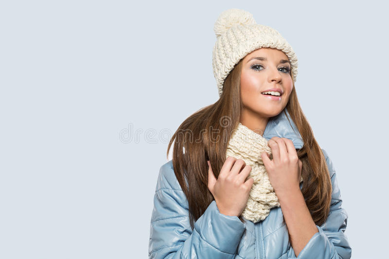 Picture of beautiful woman in winter hat stock images