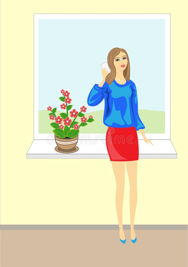 Picture of a beautiful young lady. Lovely cheerful girl in a blue blouse talking on the phone. It stands on a background of the stock illustration