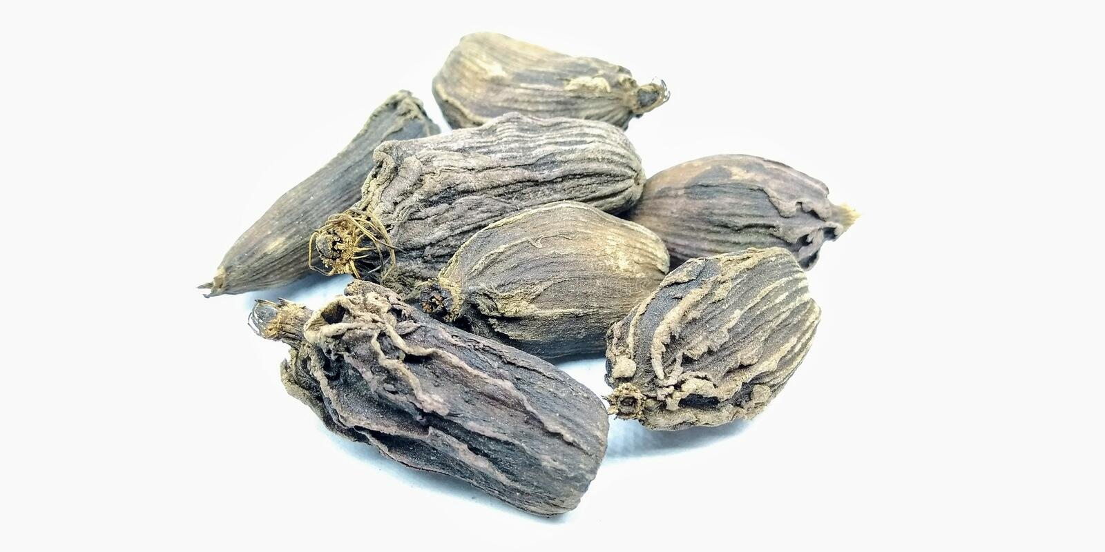 A picture of black cardamoms isolated on a white background   , royalty free stock images