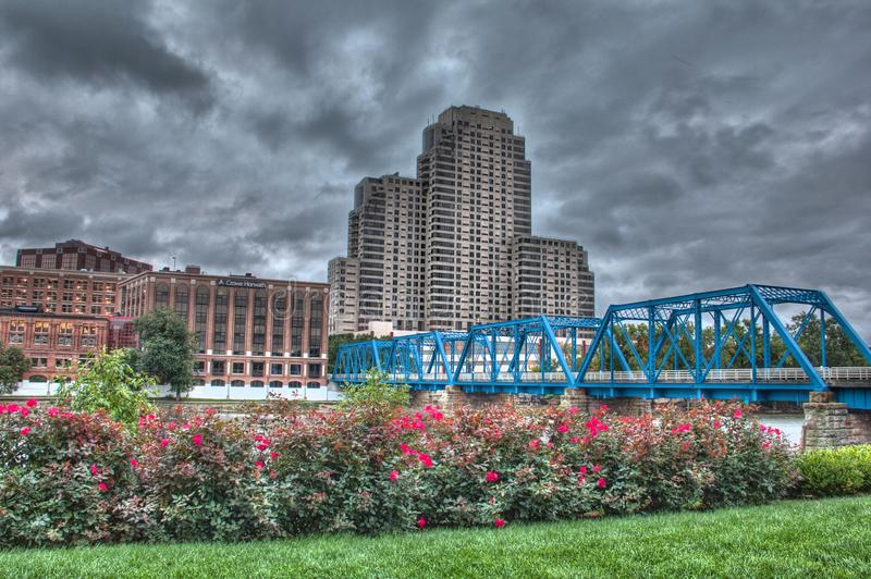 Picture of the blue bridge on a cloudy day royalty free stock images