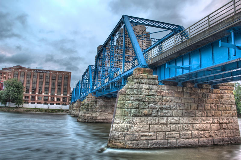 Picture of the blue bridge on a cloudy day stock photos