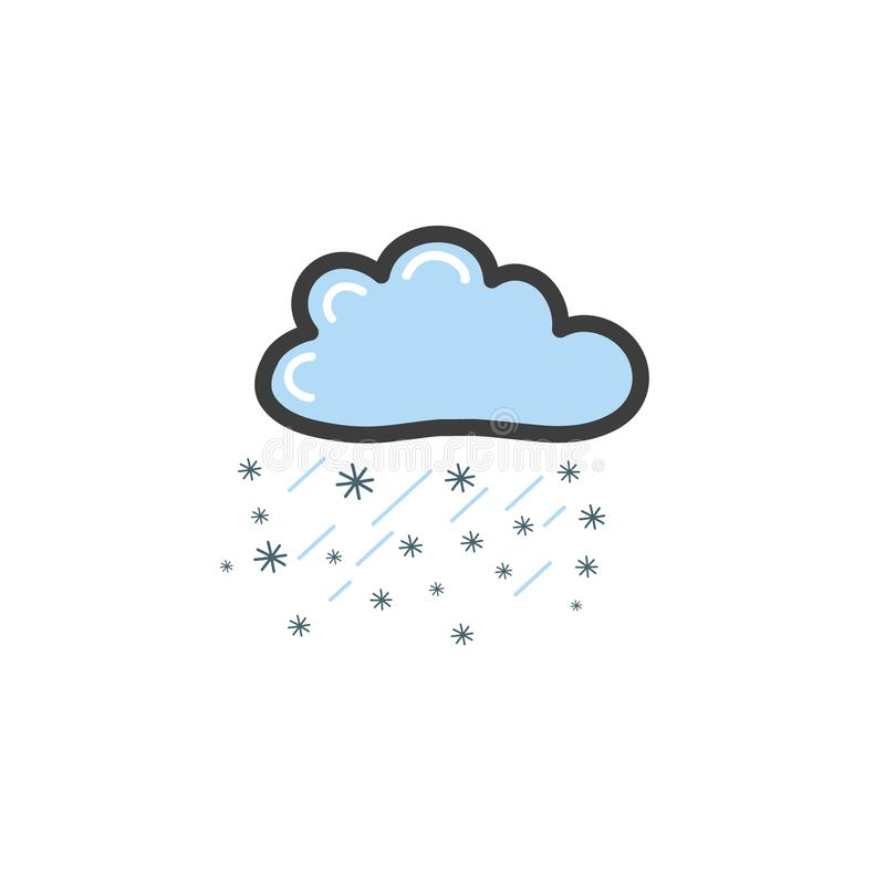 Picture of blue cloud with rayn and snowflakes. Symbol of the weather. Vector drawing by hand in the style of a doodle stock illustration