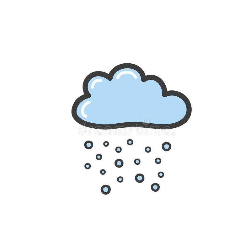 Picture of blue cloud with snow. Symbol of the weather. Vector drawing by hand in the style of a doodle vector illustration