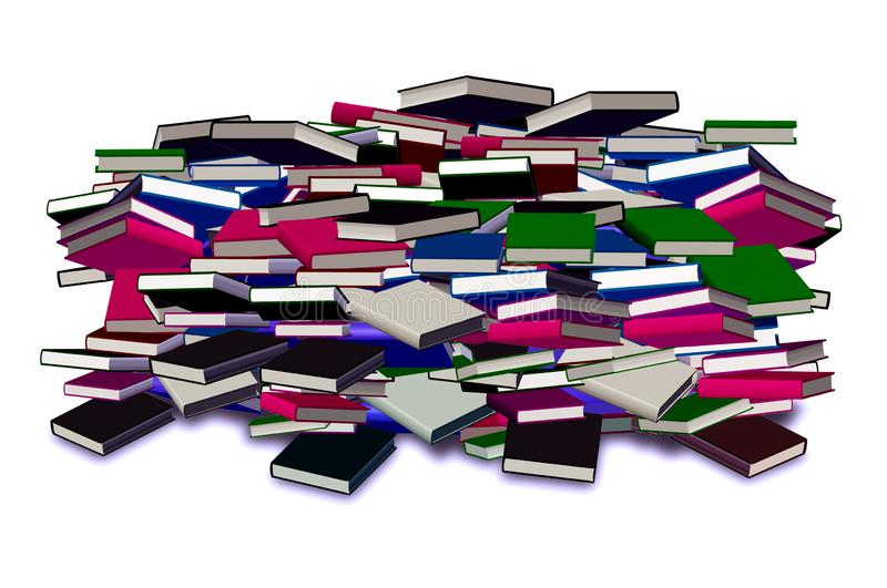 Books pile. Picture of books pile of different colors isolated in white background royalty free illustration