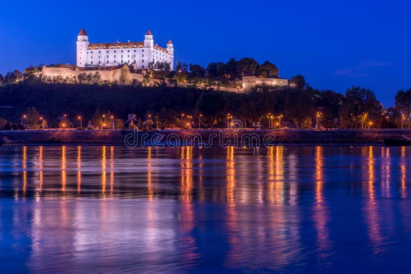 Picture of Bratislava capital city of Slovakia during evening from petrzalka shore. stock images
