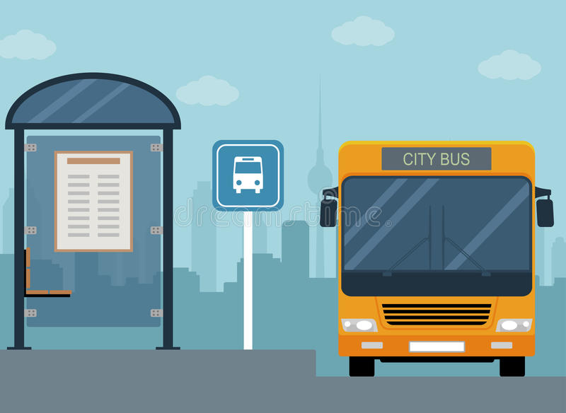 Picture of bus on the bus stop. royalty free illustration