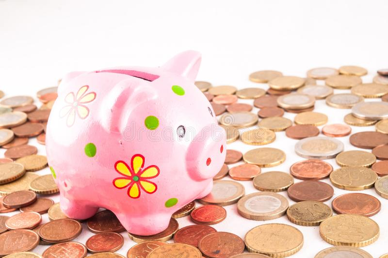 Business Money Concept Idea. Picture of a Business Money Concept Idea Coins and Piggy Bank royalty free stock photo