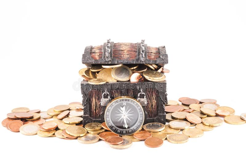Business Money Concept Idea. Picture of a Business Money Concept Idea, Treasure Trunk and Money royalty free stock image