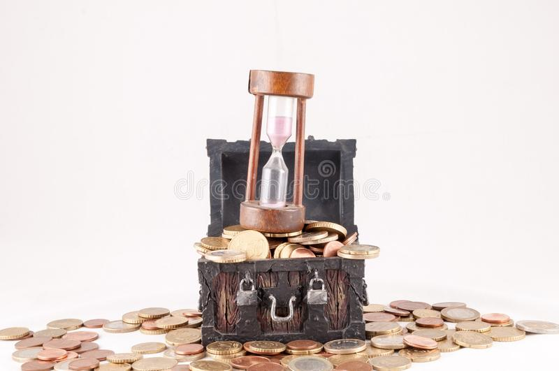 Business Money Concept Idea. Picture of a Business Money Concept Idea, Treasure Trunk and Money royalty free stock photography