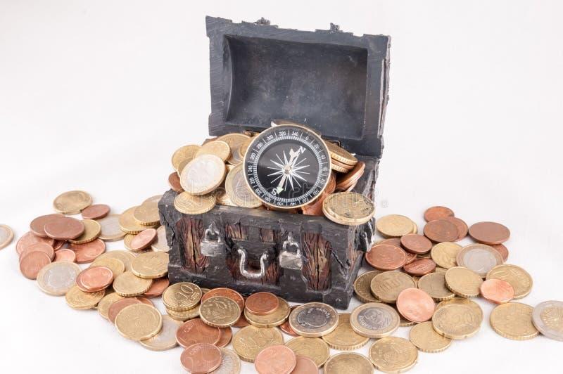 Business Money Concept Idea. Picture of a Business Money Concept Idea, Treasure Trunk and Money stock images
