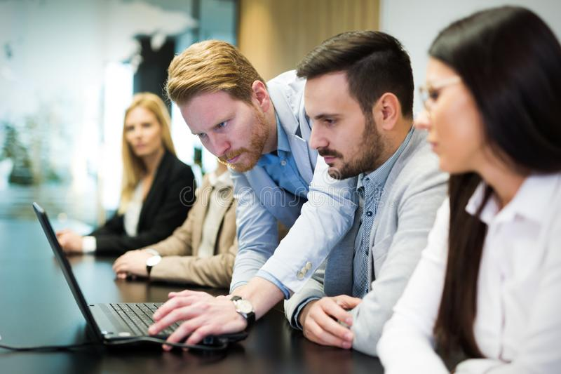 Picture of business people discussing on meeting stock images