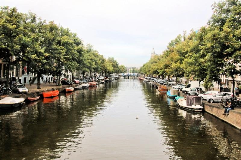 A picture of a canal in Amsterdam. In September royalty free stock photo