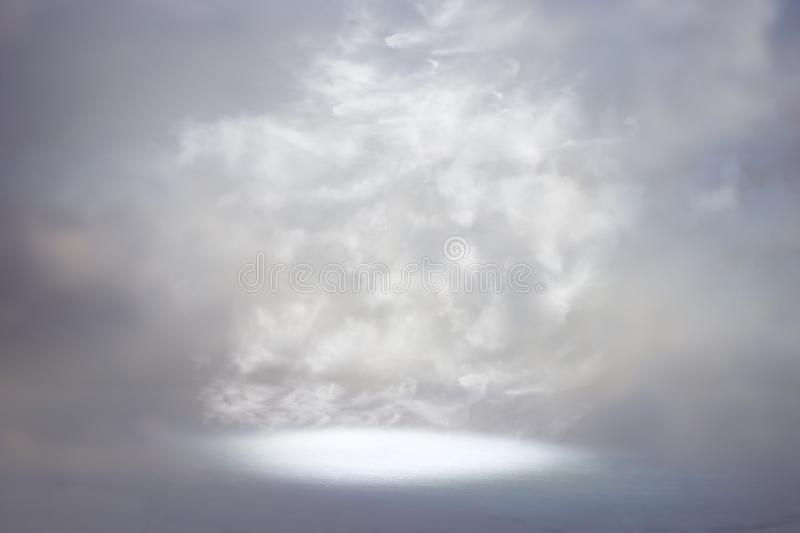 A picture of a celestial ray of light in the sky. Concept of religion and faith stock photography