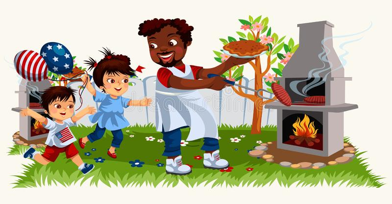 Picture of cheerful family cooking bbq and spending time together. Picture of cheerful cartoon family cooking bbq and spending time together. Happy chef father stock illustration