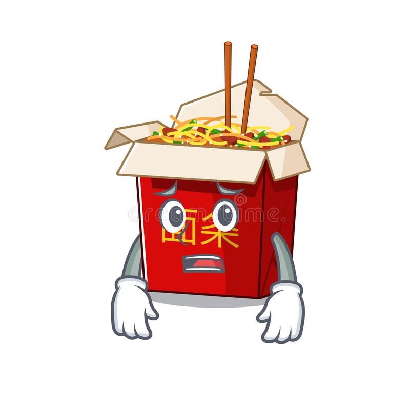 A picture of chinese box noodle showing afraid look face stock illustration