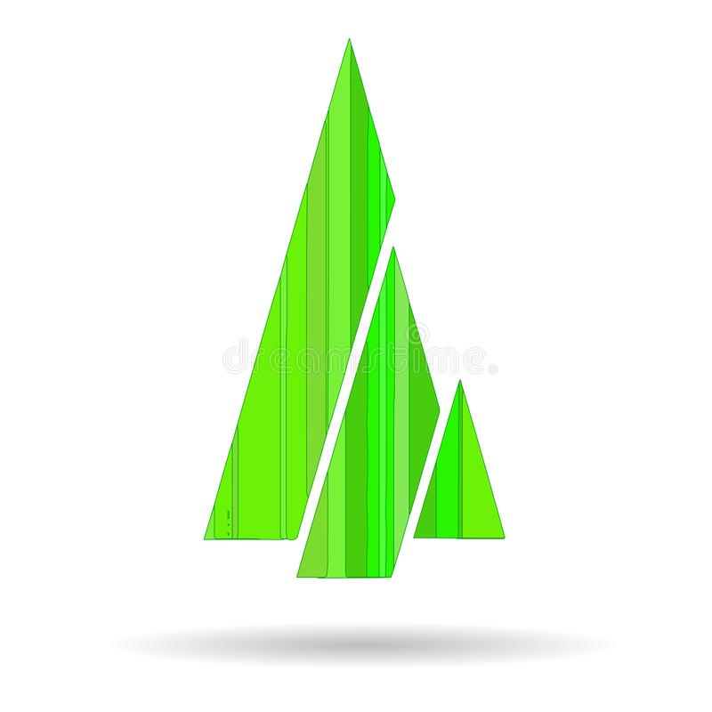 Picture of a Christmas tree with geometric shapes of green color. For festive greetings stock illustration