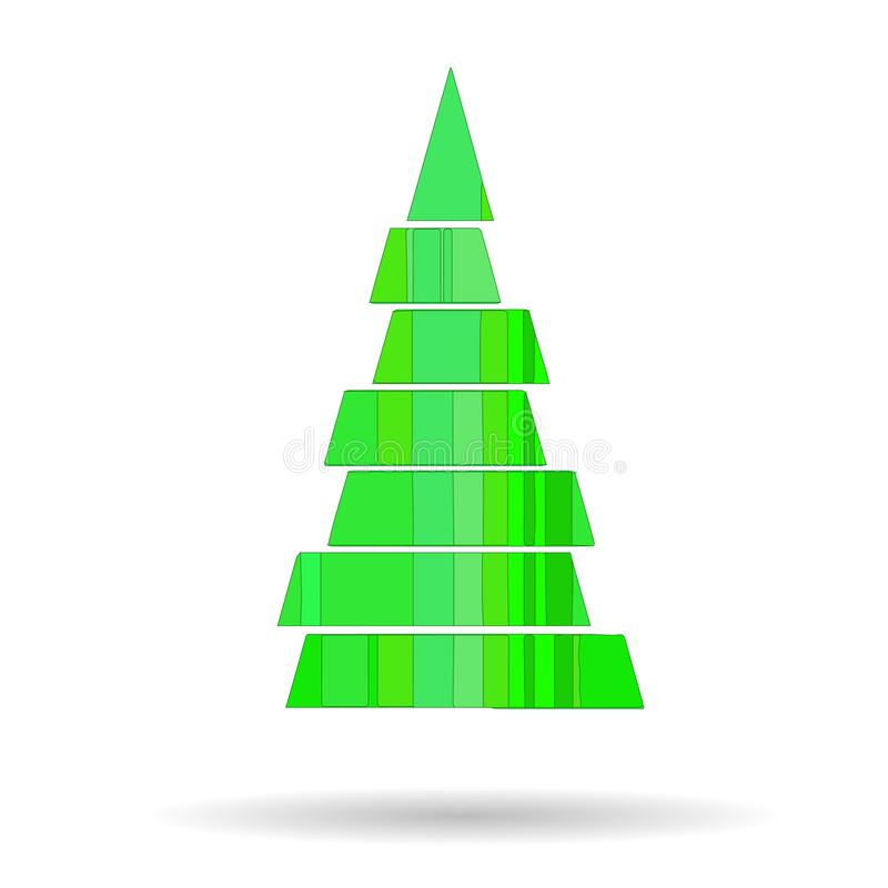 Picture of a Christmas tree with geometric shapes of green color. For festive greetings royalty free illustration