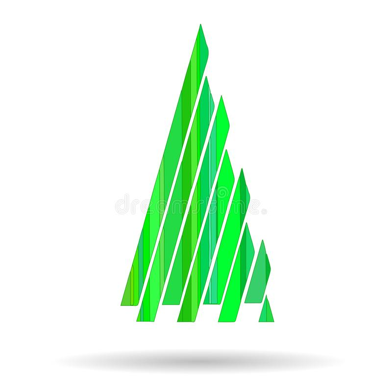 Picture of a Christmas tree with geometric shapes of green color. For festive greetings vector illustration