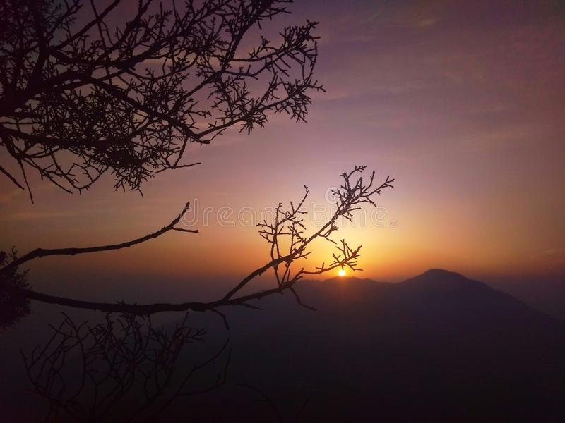 The rising sun from the mt. george, dehradun, india. Picture clicked early morning from the mt. george, dehradun, india royalty free stock photography