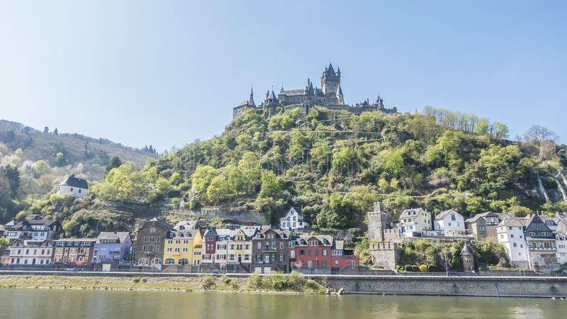 Picture of Cochem Castle from river Mosel. During daytime in summer 2017 stock photography