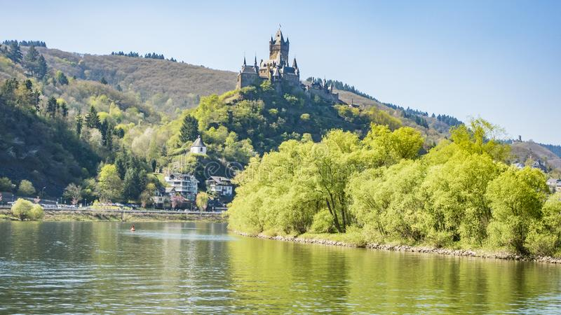 Picture of Cochem Castle from river Mosel. During daytime in summer 2017 stock photos
