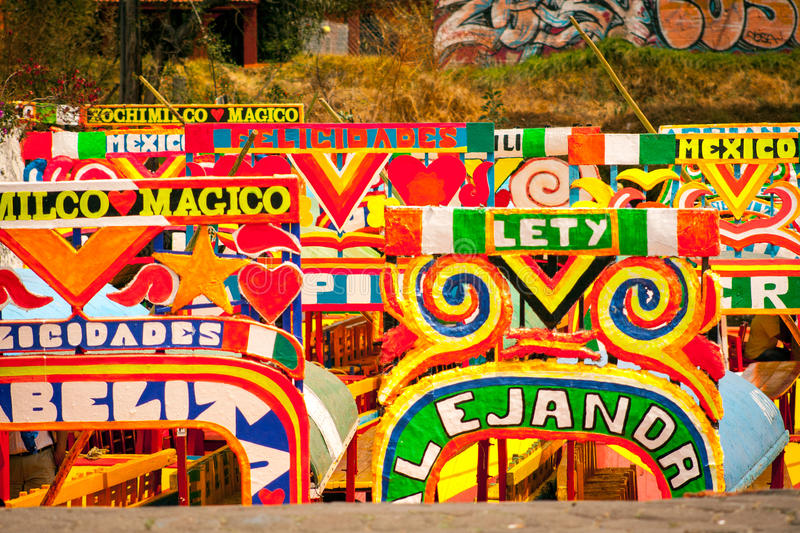 Picture of the colorful boats on ancient Aztec canals at Xochimilco in Mexico. Trajineras. royalty free stock image