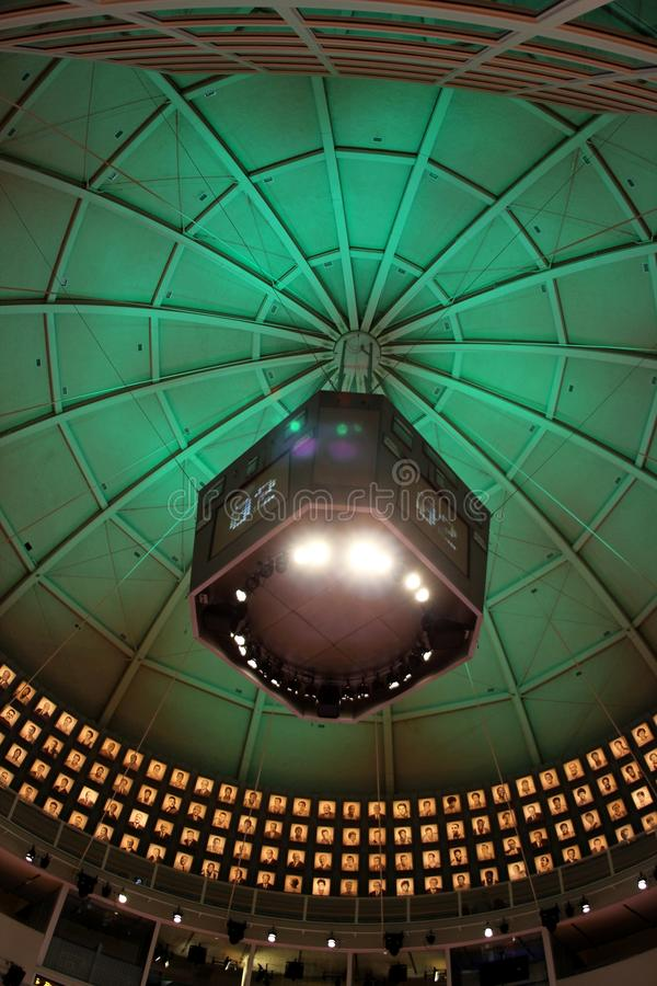 Colorful lights on a dome ceiling in the basketball hall of fame in springfield Massachusetts. A picture of colorful lights on a dome ceiling in the basketball royalty free stock image