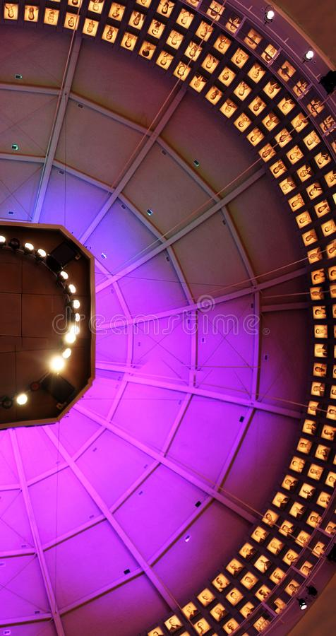 Colorful lights on a dome ceiling in the basketball hall of fame in springfield Massachusetts. A picture of colorful lights on a dome ceiling in the basketball royalty free stock photo