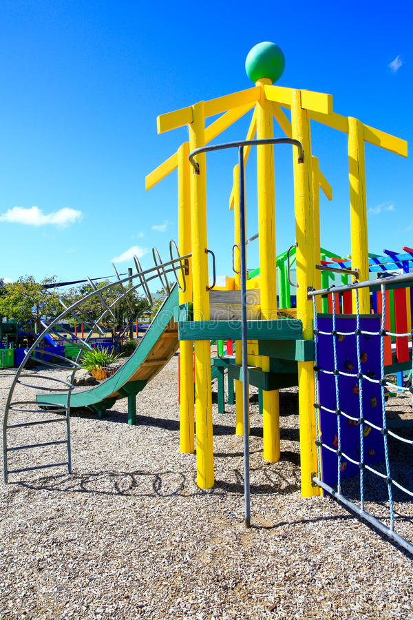 Picture of colorful playground with equipment, Levin, New Zealand.  stock photos