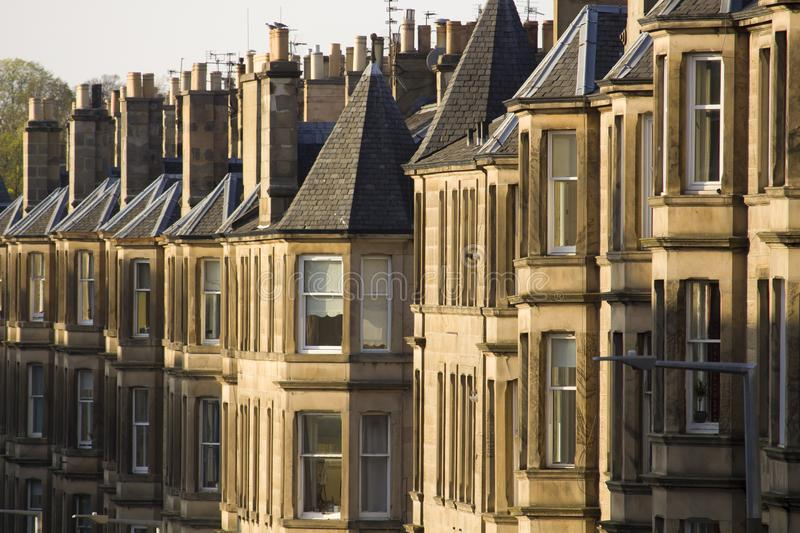 Uniformity of houses in Britain, Scotland. Picture at Comely Bank Ave. Comely Bank is an area of Edinburgh, the capital of Scotland. It lies southwest of Royal royalty free stock images