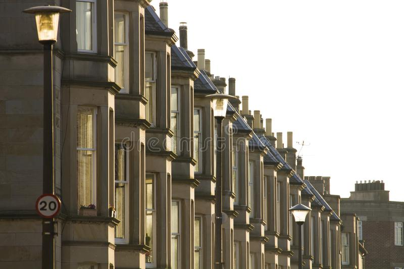 Victorian colony homes made of sandstone in Edinburgh, Scotland. Picture at Comely Bank Ave. Comely Bank is an area of Edinburgh, the capital of Scotland. It royalty free stock photos