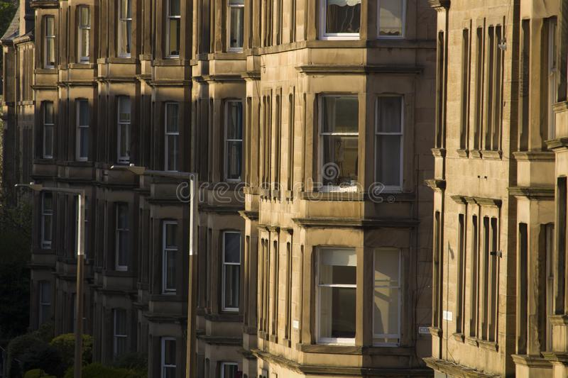 Victorian colony homes made of sandstone in Edinburgh, Scotland. Picture at Comely Bank Ave. Comely Bank is an area of Edinburgh, the capital of Scotland. It royalty free stock image