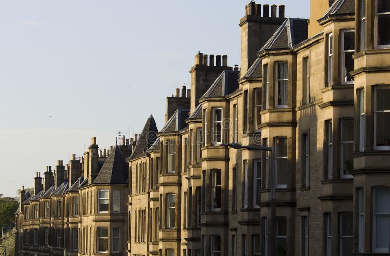 Uniformity of houses in Britain, Scotland. Picture at Comely Bank Ave. Comely Bank is an area of Edinburgh, the capital of Scotland. It lies southwest of Royal stock photography