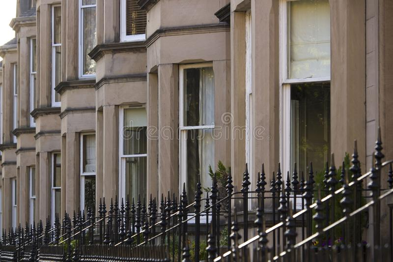 Uniformity of houses in Britain, Scotland. Picture at Comely Bank Ave. Comely Bank is an area of Edinburgh, the capital of Scotland. It lies southwest of Royal stock photo